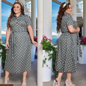 Заказать хаки женское платье миди из хлопка с поясом с принтом горох (размер 48-66) онлайн