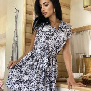 Купить черное женское летнее платье с ромашками из хлопка в Украине