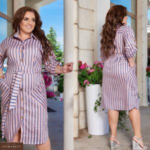 Купить пудровое женское платье-рубашка в вертикальную полоску с карманами (размер 48-66) онлайн