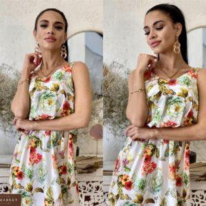 Приобрести цветочное женское глянцевое платье с двойными бретельками по скидке