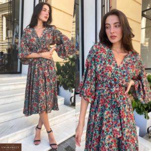 Купить зеленое женское летнее принтованное платье с рукавами-колокольчиками (размер 42-58) по скидке