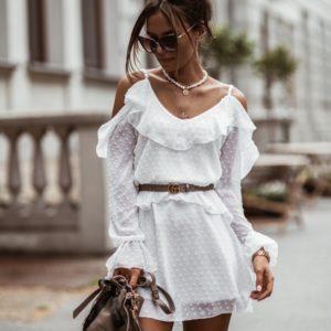 Заказать женское белое воздушное платье мини в горошек по скидке
