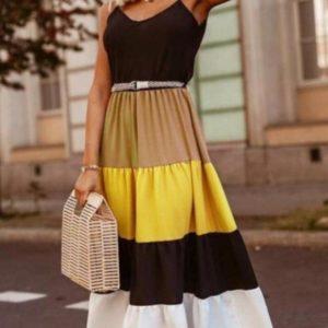 Купить желтое женское длинное платье на бретельках с многоцветной юбкой (размер 42-48) по низким ценам