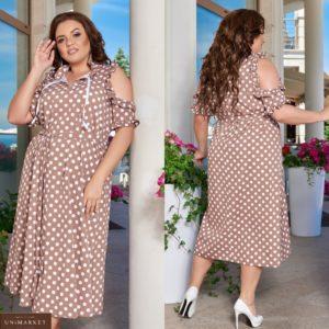 Купить капучино женское платье миди в горошек с открытыми плечами (размер 48-66) выгодно