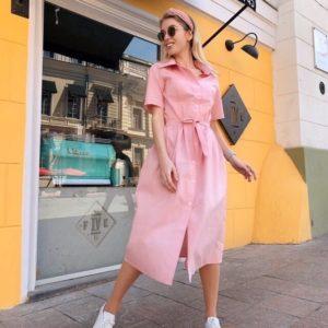 Приобрести розовое женское платье-рубашка из хлопка длины миди дешево