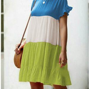 Купить голубой/белый/салатовый женское трехцветное яркое платье из штапеля (размер 42-56) в Украине