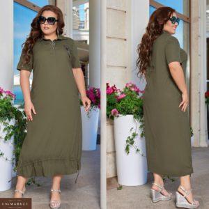 Приобрести хаки женское длинное платье из льна с затяжкой снизу (размер 48-66) во Львове