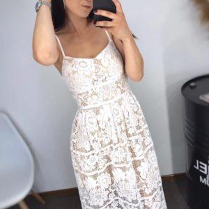 Купить белое женское элегантное платье миди на бретельках из ажурного кружева онлайн