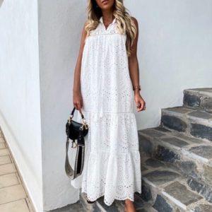 Приобрести белое женское платье макси и прошвы с воланами онлайн