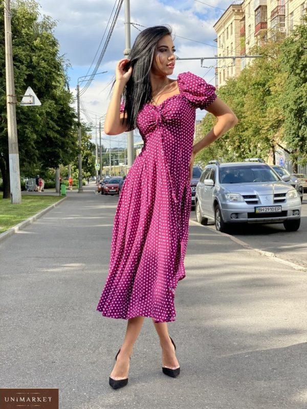 Заказать сирень женское нежное платье миди с принтом с рукавами-фонариками выгодно