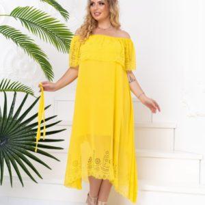 Приобрести желтое платье из шифона с перфорацией женское с открытыми плечами (размер 48-50) по специальным предложениям