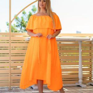 Заказать оранжевое на лето легкое платье из шифона для женщин с выдавленным рисунком размер 48-62 XL+ онлайн