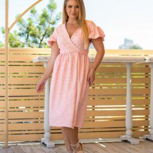 Купить персиковое со спущенными плечами платье для женщин на запах с вышивкой (размер 48-64) в Украине