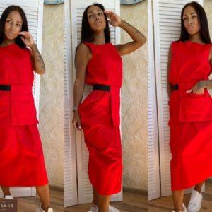 Заказать красное платье миди из хлопка с поясной сумкой в комплекте (размер 42-56) онлайн для женщин