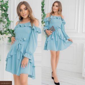 Заказать голубое платье с открытыми плечами женское с рюшами и длинным рукавом (размер 42-48) выгодно