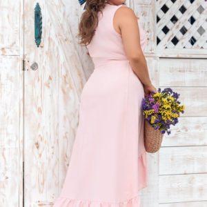 Приобрести розовое женское платье из натурального льна в романтическом стиле на запах (размер 50-64) недорого