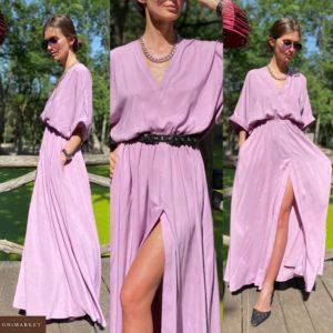 Купить лиловое женское платье со свободными рукавами в пол из штапеля по скидке