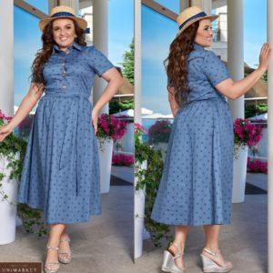 Приобрести джинс женское платье миди из хлопка с поясом с принтом горох (размер 48-66) хорошего каечтсва