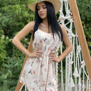 Приобрести беж женское летнее платье с принтом горошек, цветы онлайн