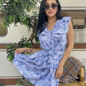 Заказать голубое женское летнее платье с ромашками из хлопка дешево