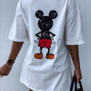 Заказать белое женское платье-футболка мини oversize с Микки Маусом недорого
