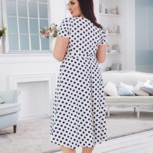 Купить белое женское платье в горошек на запах с асимметричным подолом (размер 50-56) дешево