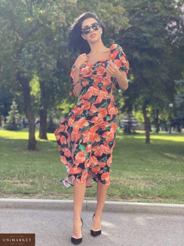 Заказать черное/красное женское нежное платье миди с принтом с рукавами-фонариками онлайн