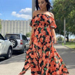 Заказать черное женское платье макси с открытыми плечами в цветочный принт по низким ценам