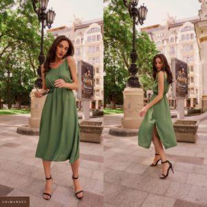Заказать зеленое женское летнее платье миди с бретельками-завязками (размер 42-58) онлайн
