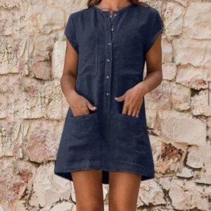 Замовити синє плаття-сорочку з льону для повних жінок з кишенями (розмір 42-52) за низькими цінами
