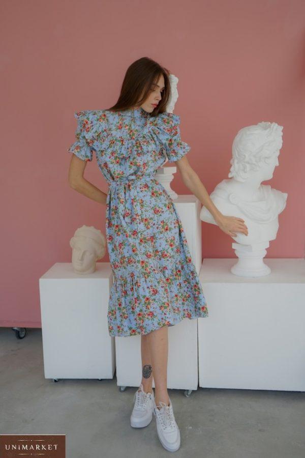 Приобрести голубого цвета с рюшами закрытое платье из льна в цветочный принт (размер 42-58) для женщин выгодно