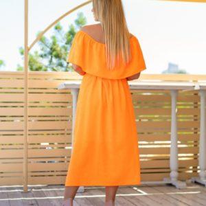 Купить недорого женское Легкое платье из шифона с выдавленным рисунком оранжевого цвета (размер 48-62) хорошего качества