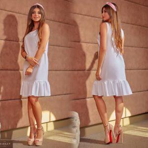Заказать белое женское льняное платье прямого кроя с оборкой (размер 42-64) в Харькове
