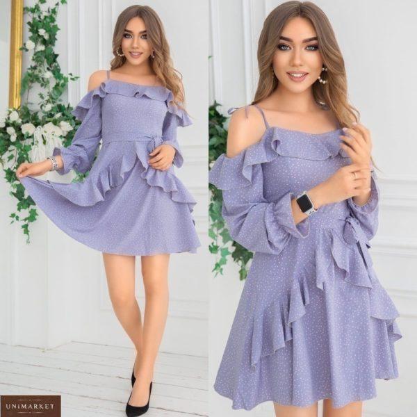 Заказать лиловое платье с открытыми плечами в горошек для женщин с рюшами (размер 42-48) в Украине