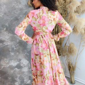 Купить женское принтованное платье с поясом с длинным рукавом розовое (размер 42-50) хорошего качества