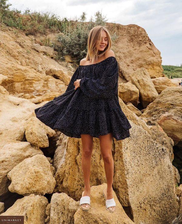 Заказать черное Платье оверсайз в горошек и с длинным рукавом по скидке для женщин