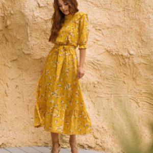 Заказать цвета горчица Цветочное платье с рюшами для женщин и поясом (размер 42-48) выгодно