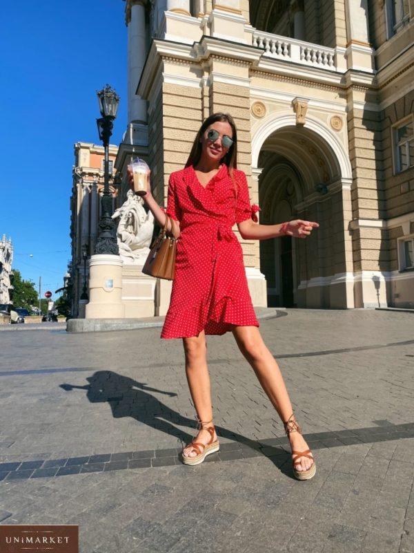 Заказать красного цвета платье в горошек на запах с завязками на рукавах по скидке для женщин