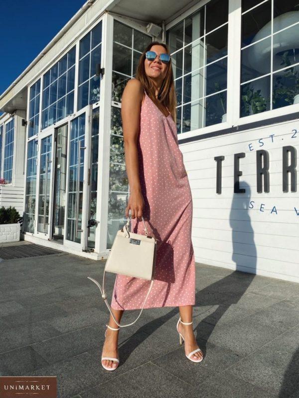 Купить розовое Длинное платье на бретельках в горошек с поясом для женщин по низким ценам
