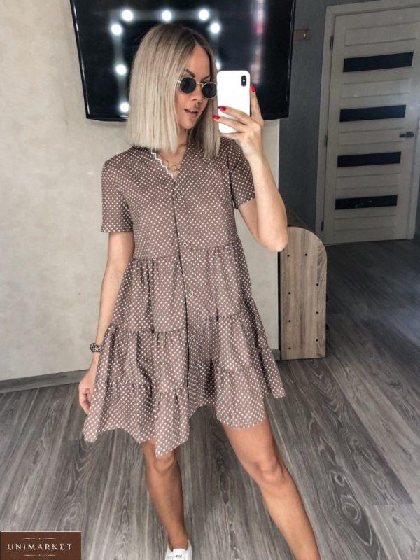 Купить цвета мокко Летнее платье с рюшами в горошек (размер 42-52) женское по низким ценам