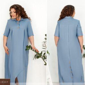 Заказать голубое женское льняное платье oversize с защипами на подоле (размер 48-66) выгодно