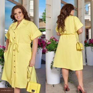 Заказать желтое женское платье-рубашка из натурального льна (размер 48-66) в Харькове