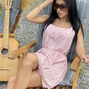 Купить розовое женское летнее платье с принтом горошек, цветы хорошего качества