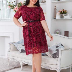 Купить марсала женское кружевное платье с подкладкой с поясом в комплекте (размер 50-60) в Днепре