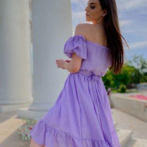 Приобрести сиреневое женское легкое платье с открытыми плечами из хлопка по скидке