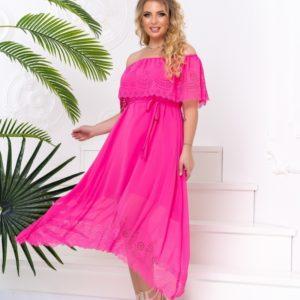 Купить женское шифоновое платье розового цвета с перфорацией с открытыми плечами (размер 48-50) на лето недорого