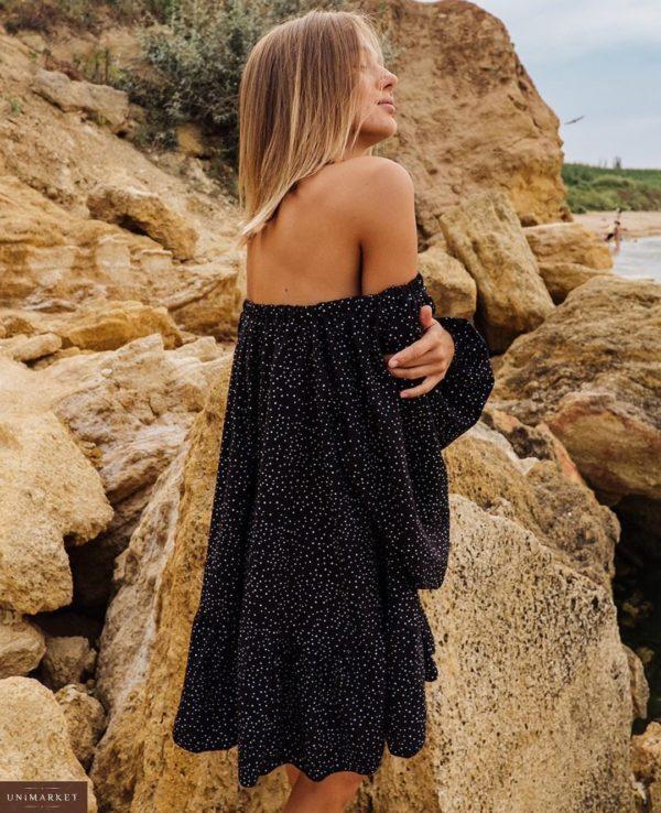 Заказать женское Платье оверсайз в горошек и с длинным рукавом черного цвета по низким ценам