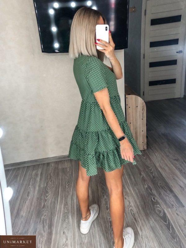 Заказать зеленого цвета женское на лето платье с рюшами в горошек размера 42-52 дешево