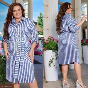 Заказать джинс женское платье-рубашка в вертикальную полоску с карманами (размер 48-66) по скидке