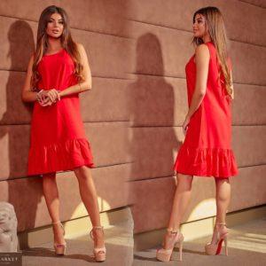 Купить красное женское льняное платье прямого кроя с оборкой (размер 42-64) в Киеве